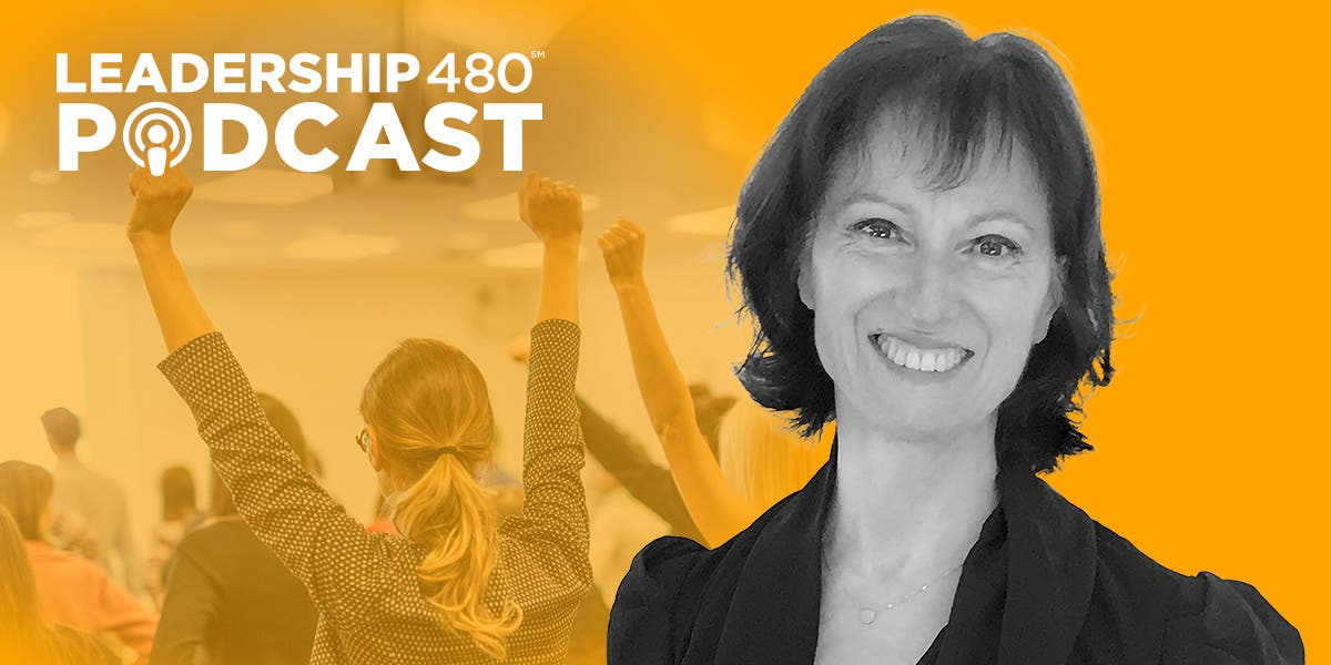 headshot of Laurence Pintenat with a professional woman in the background with her hands up to show that this podcast episode is about empowerment vs. micromanagement