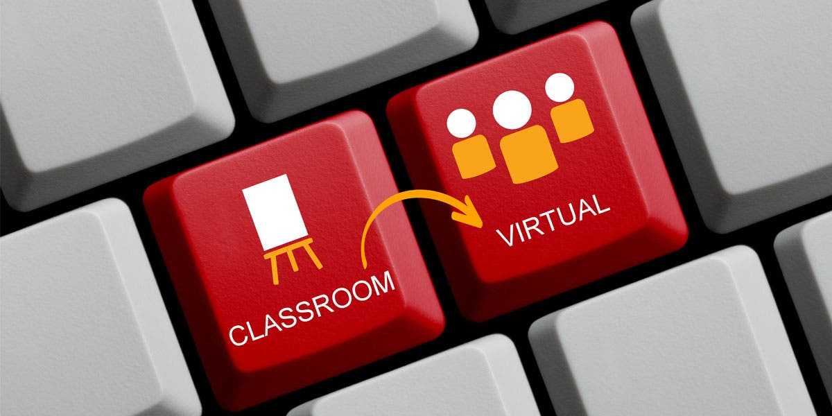 keyboard showing moving from classroom to virtual learning