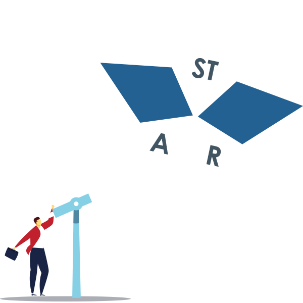 animated person with a telescope looking up, with the letters STAR in the sky to symbolize DDI's STAR method for behavioral interviewing ?auto=format&q=75