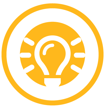 Icon of lightbulb to represent learning during leadership development
