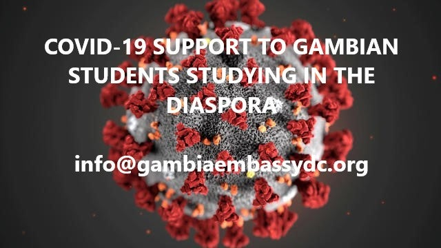 COVID-19 SUPPORT TO GAMBIAN STUDENTS STUDYING IN THE DIASPORA