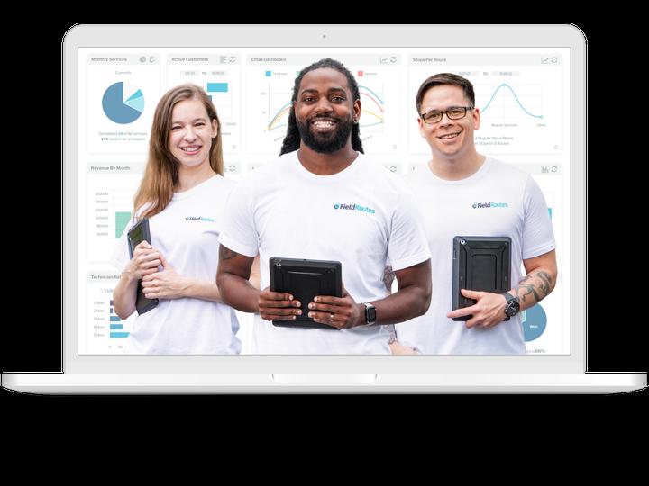 image of team members on laptop