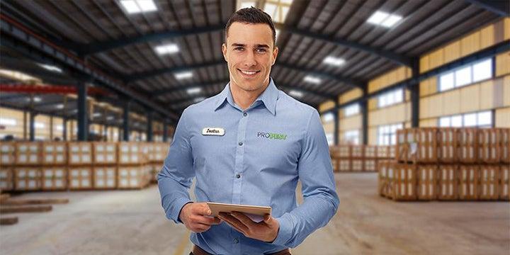 a technician in a open warehouse