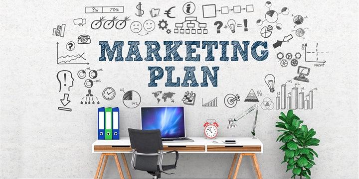 marketing plan diagram on a wall