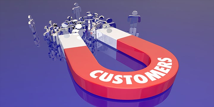 a magnet graphic pulling customers towards it