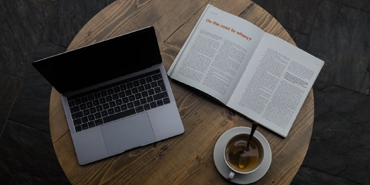 reading material and tea on a table