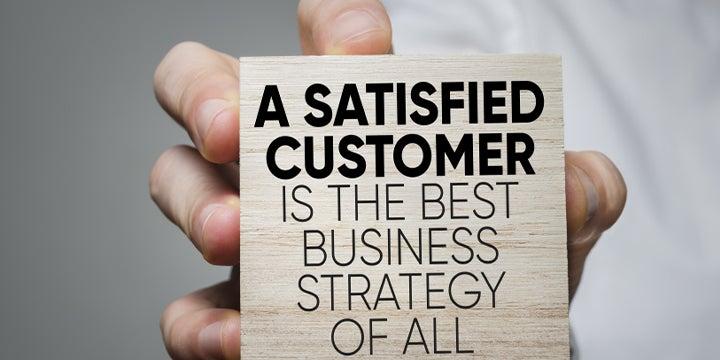 sign describing happy customer
