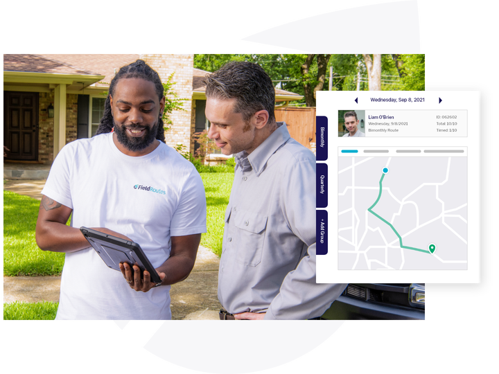 fieldroutes employee and tech with route mapped out