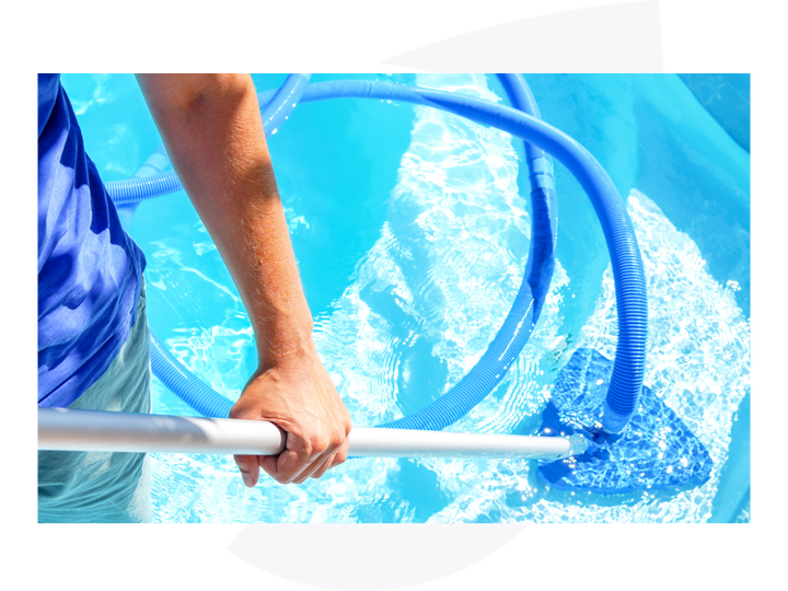 person treating a pool