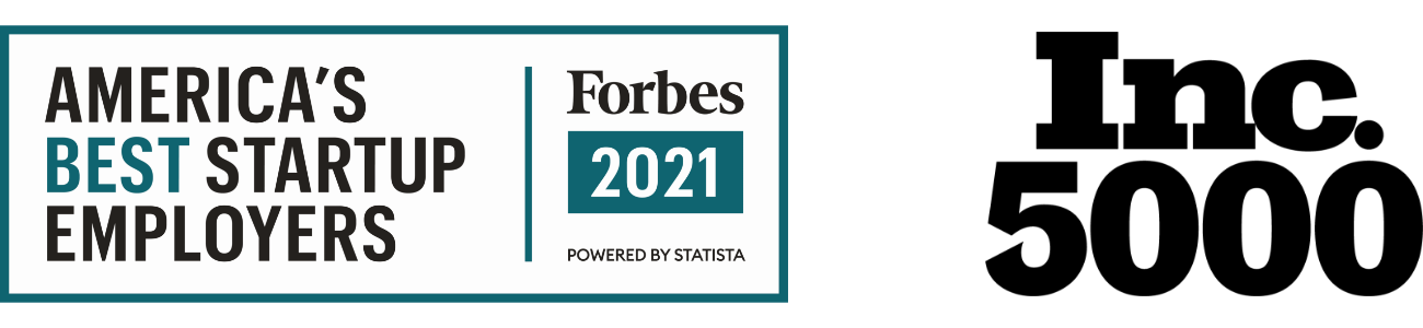 America's Best Startup Employers. forbes 2021 and Inc. 5000
