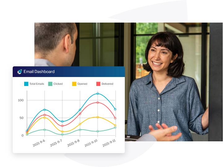 email dashboard metrics with man and woman in background
