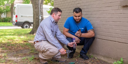 two technicians inspecting a termite bait station