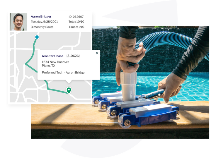 pool tech and route on fieldroutes