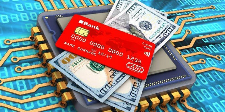 a credit card and money