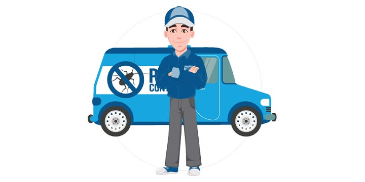 a pest control technician and a company vehicle