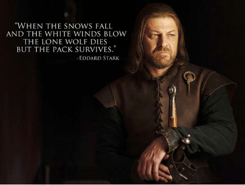 """When the snows fall and the white winds blow the lone wolf dies but the pack survives."" - Eddard Stark"