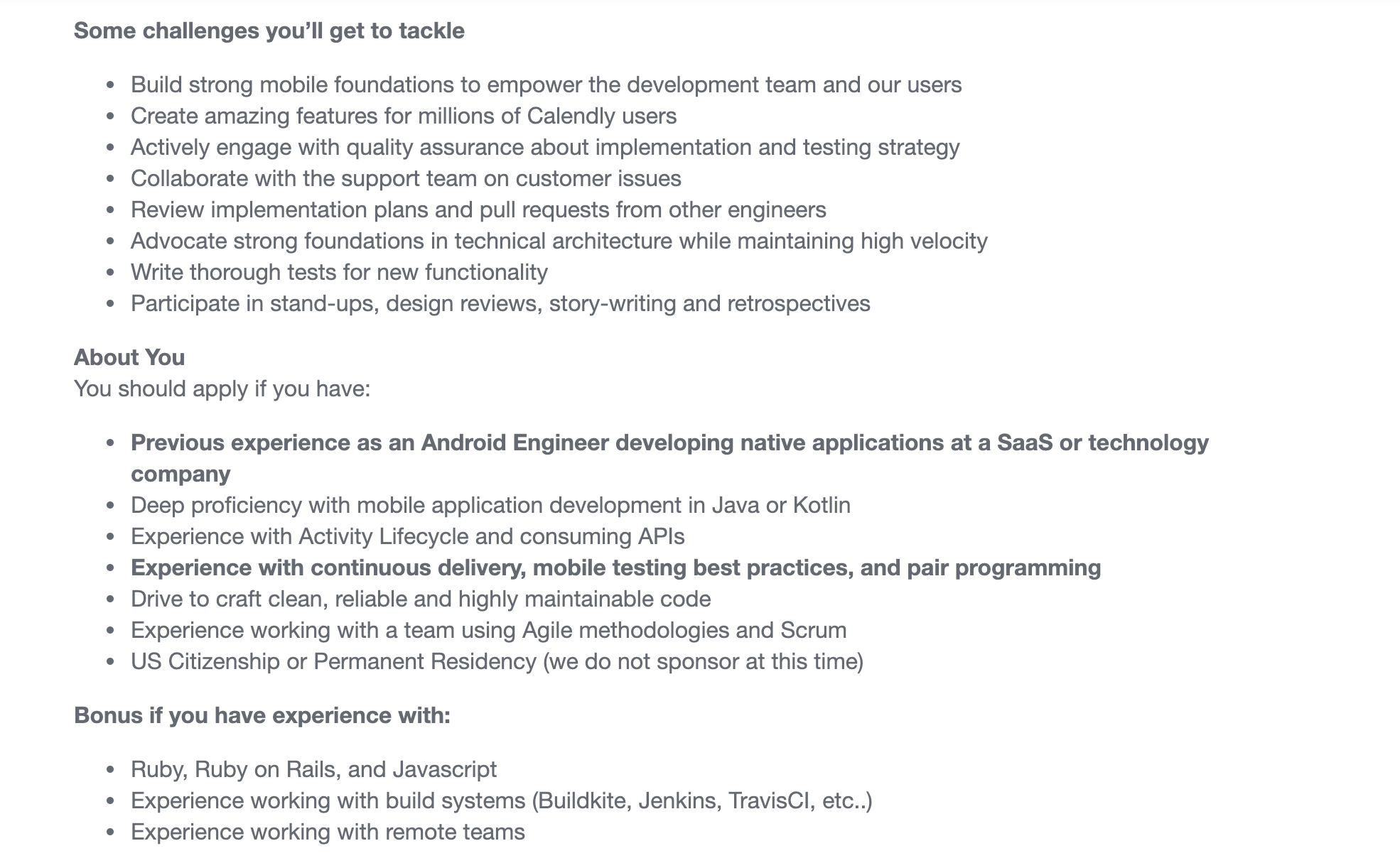 Senior Android Engineer Job Description for Calendly
