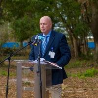 Scott Raynes President of Baptist Hospital speaking at new Health campus groundbreaking.