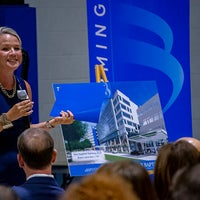 Jennifer Grove Vice President External Affairs Baptist Health Care speaking at leadership forum about new Baptist Hospital Campus