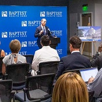 Mark Faulkner President and CEO of Baptist Health Care announcing plans for new Baptist Hospital Campus at press conference