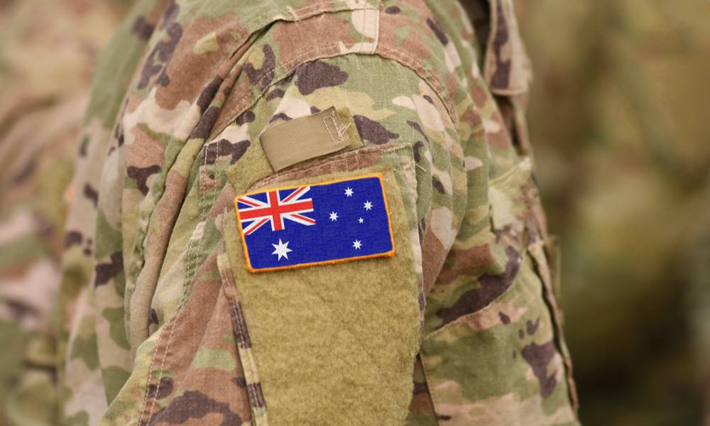 Flag of Australia on the arm of a soldier's army jacket.jpg