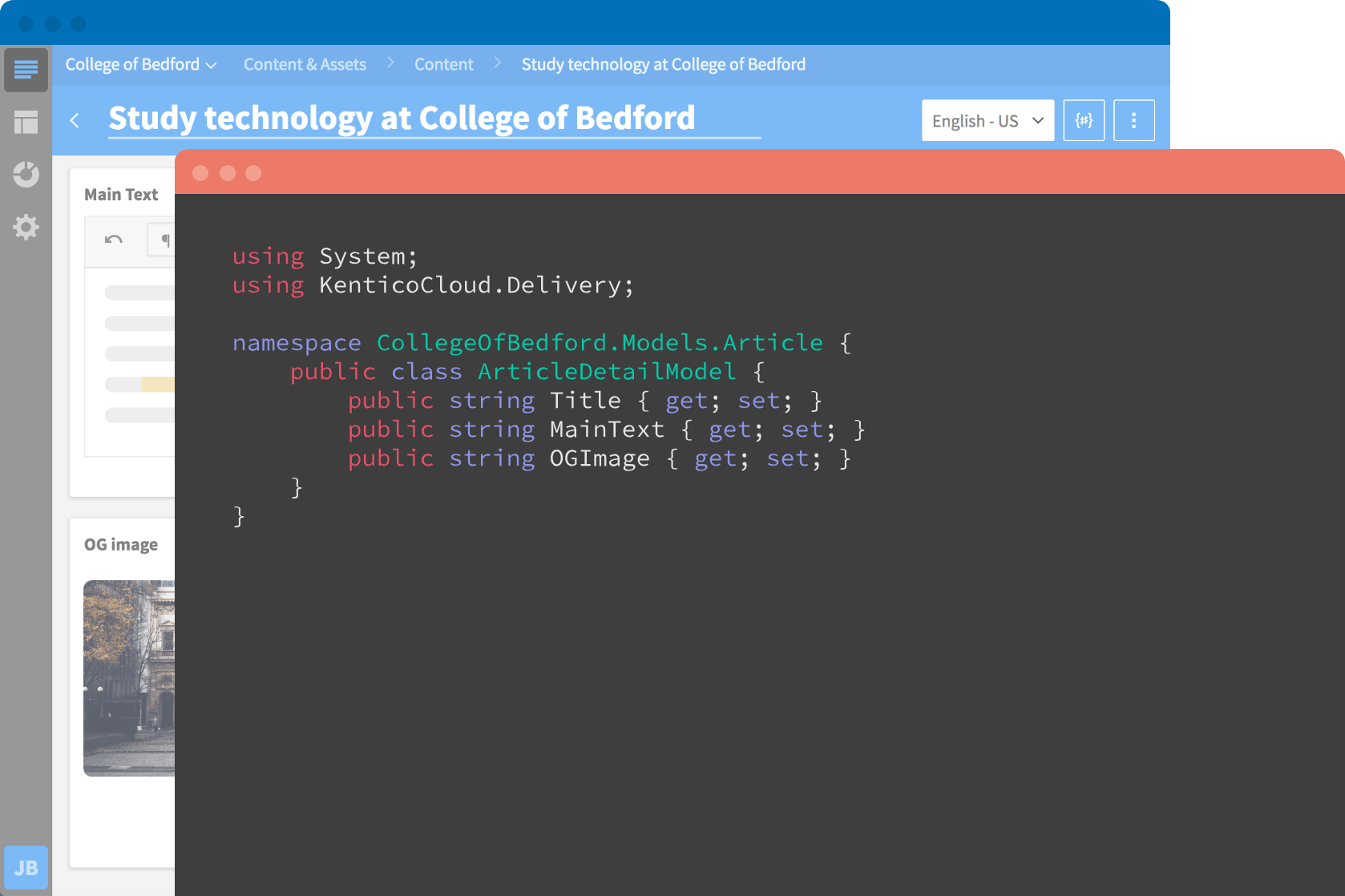 Code editor and Kentico Cloud App window in background