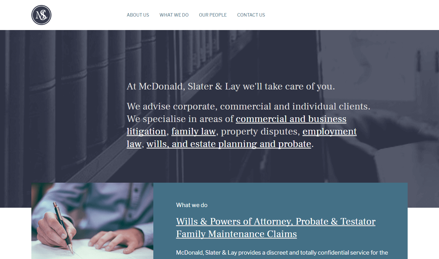 McDonald, Slater & Lay Home Page Screenshot