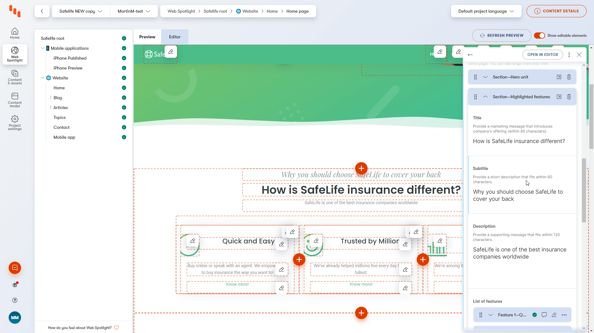 Kentico Kontent's Web Spotlight and redesigned user interface