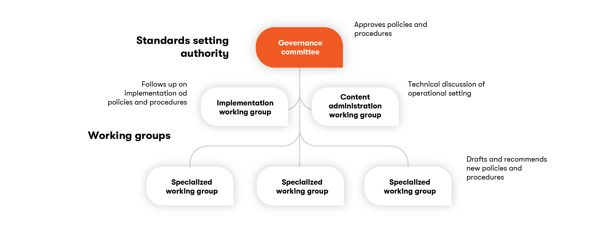 A governance committee is supported by specialized working groups.
