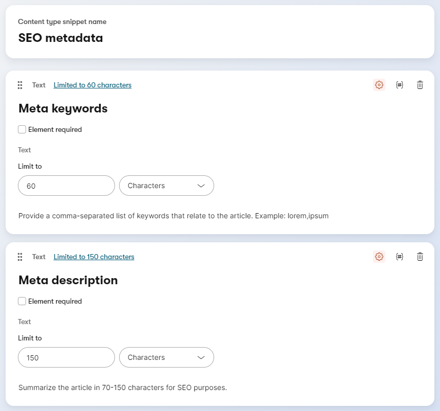 Using content type snippets to force uniformity in SEO metadata handling.