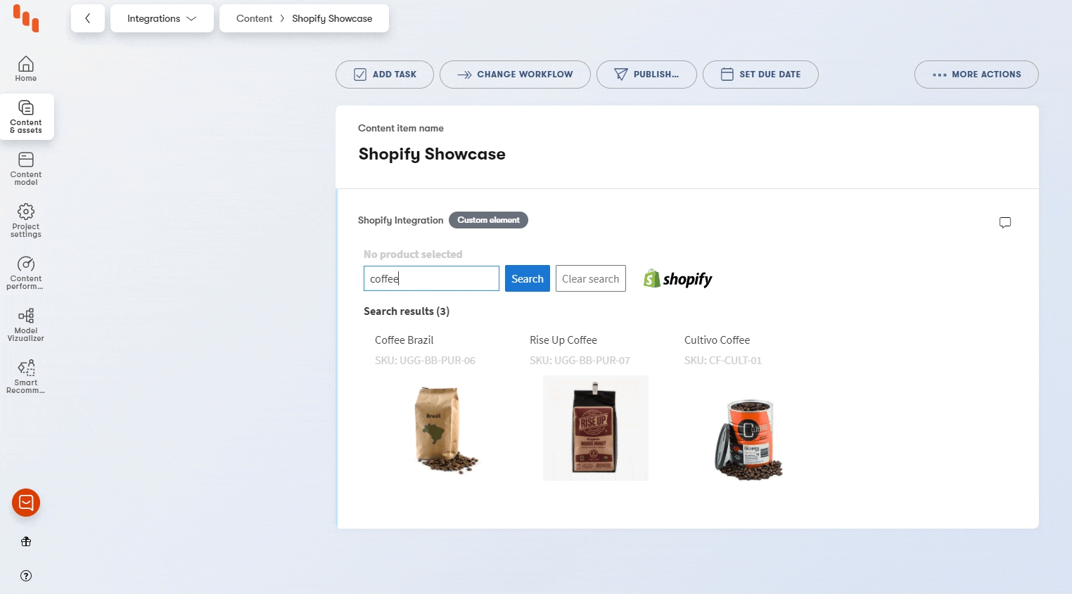A React or Vue component picker can work similarly as this Shopify product picker.