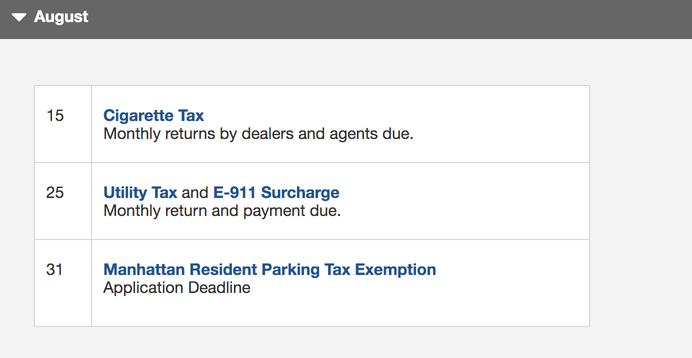 Example of a timeline for taxes, from New York City