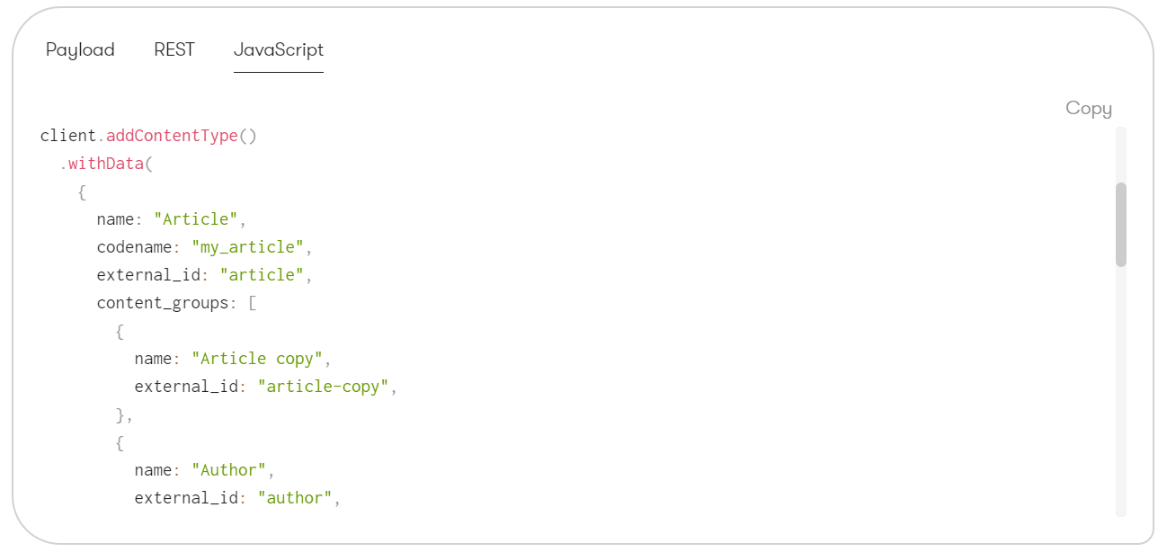 Creating a new content type in JavaScript, via the Management API
