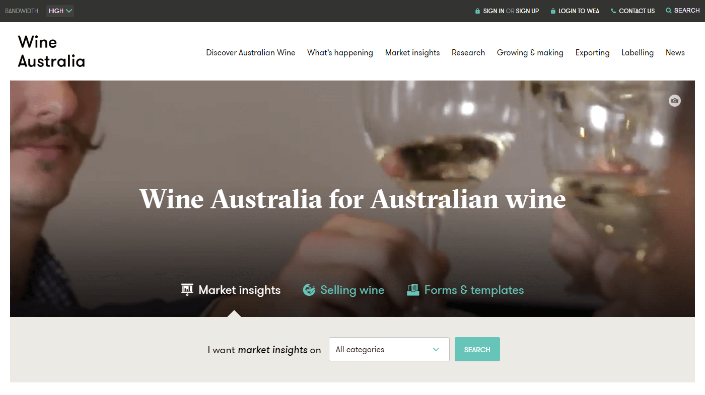 Wine Australia Home Page Screenshot