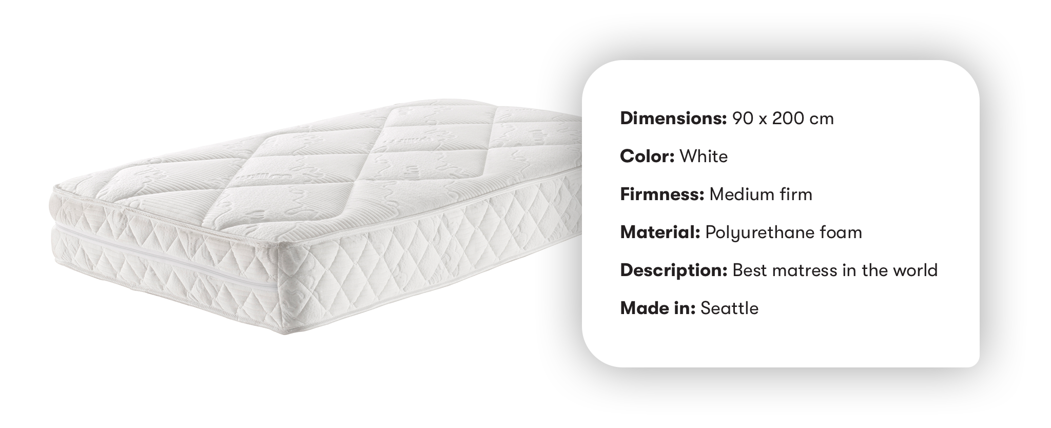 Photo of a mattress with some metadata