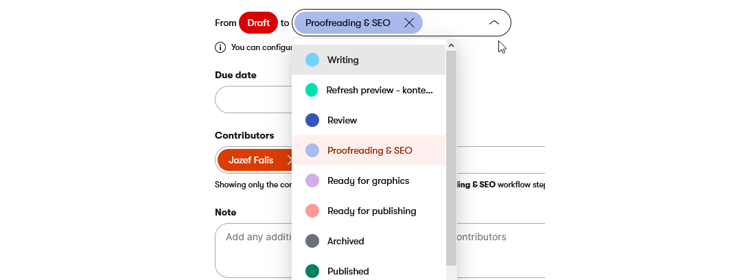 Moving to the next workflow step in the Kentico Kontent headless CMS
