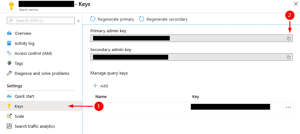 Screenshot of where to find admin keys for Azure Cognitive Search Service in Azure Portal