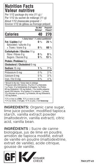 Citrus Lime No Bake Cheesecake Mix (Pkg of 2)