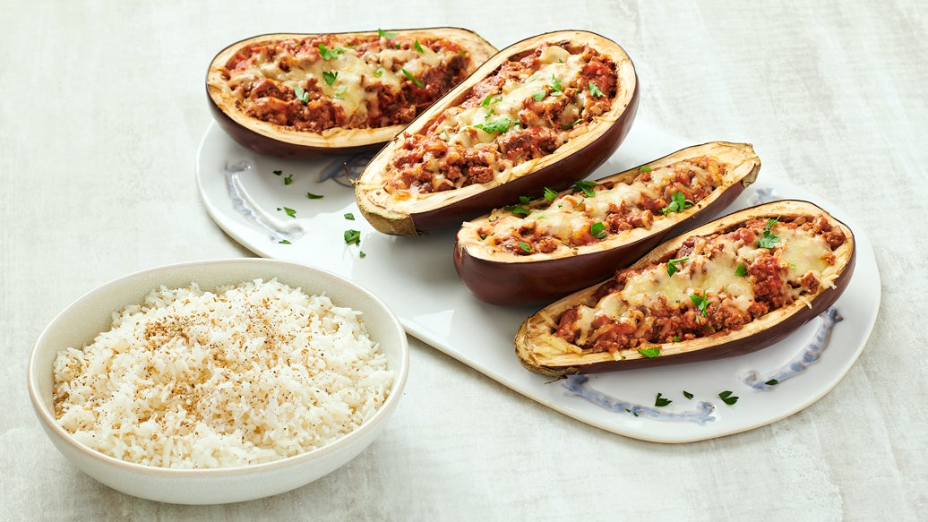 Greek Turkey Stuffed Eggplant