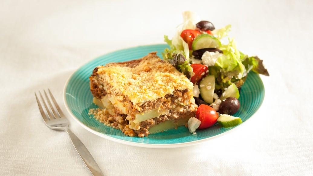 Greek Potato Moussaka - Beef or Lentil