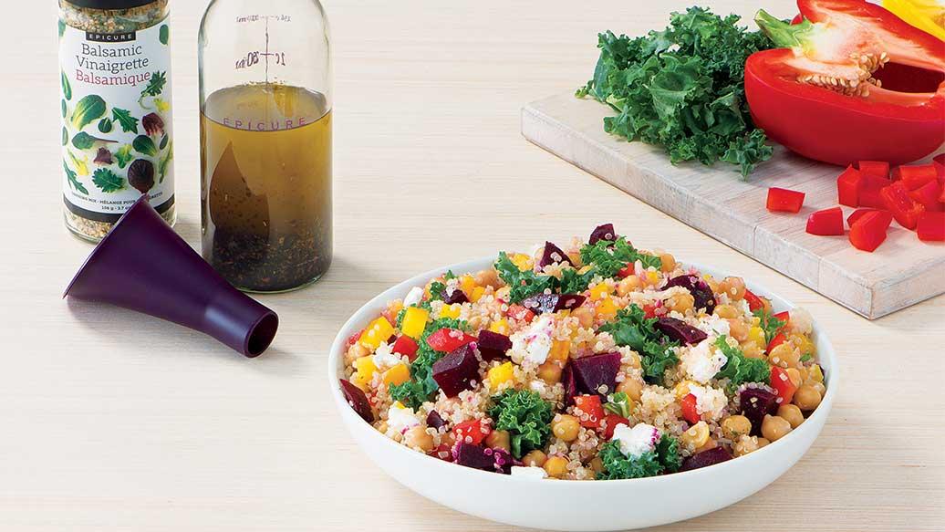 Salade de betterave, fromage de chèvre et quinoa
