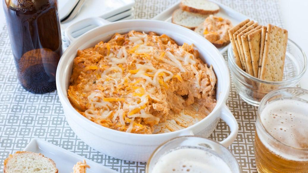 Trempette nacho, buffalo, fromage et poulet