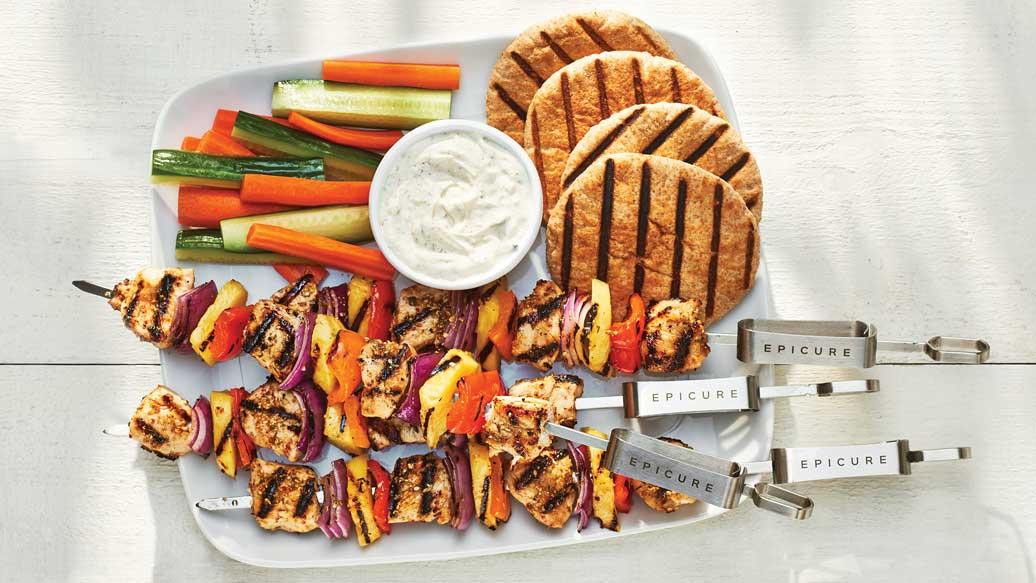 Brochettes de légumes et poulet aloha