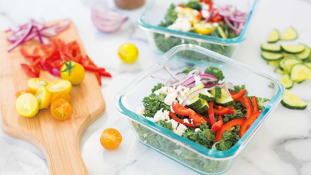Layered Kale & Veggie Salad