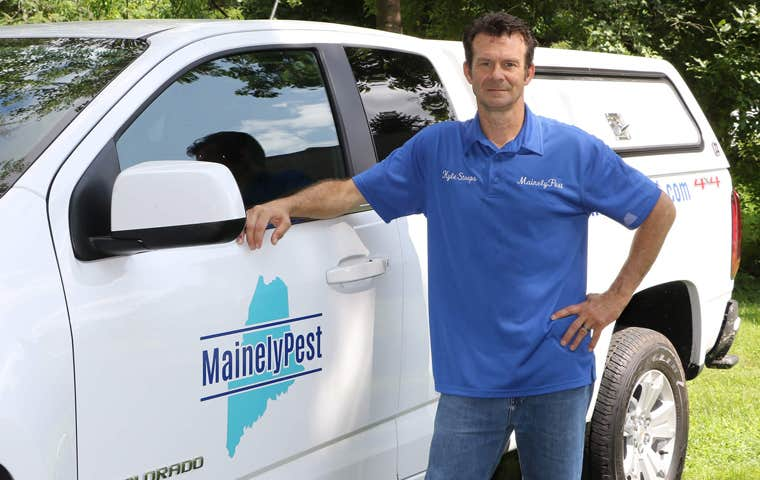 mainely pest technician by company vehicle