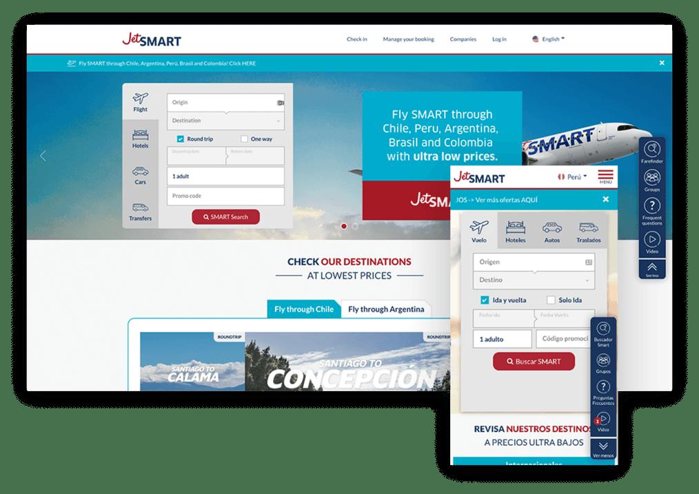 Screenshot of the Jetsmart website