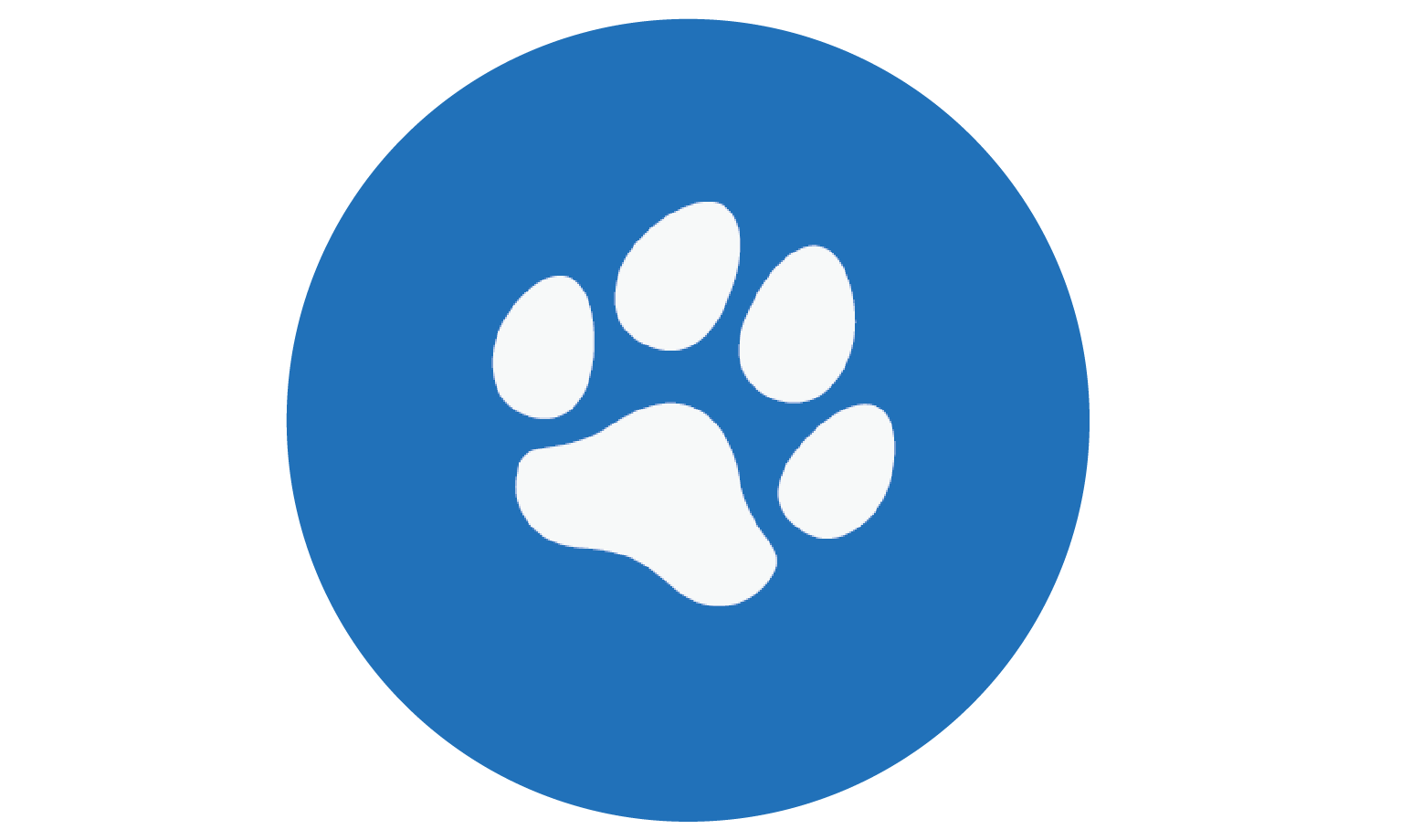 paw print within a blue circle