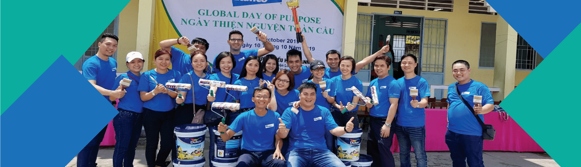 A group of Elanco employees working Global Day of Purpose