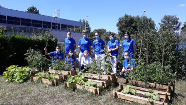 a group of Elanco employees standing by raised garden beds