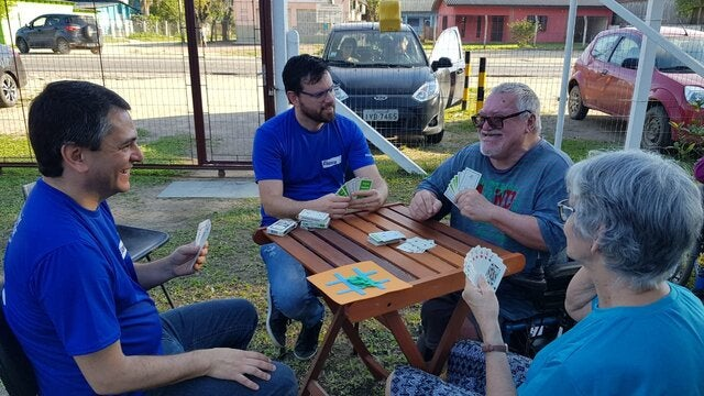 employees playing cards